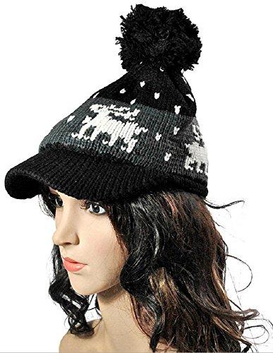 Elk Accent - bettyhome Women's Pom Pom Knit Visor Hat Elk Accent Multicolour Ear Flap Beret Cap (Black)