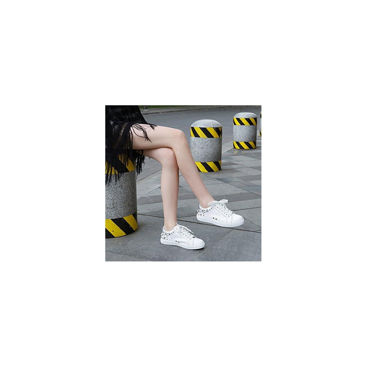 Scarpe Da Donna Nan Pu Estate Traspirante Confortevole Rivetto Punta Tonda Bianche Fondo Piatto colore Bianca Dimensioni Eu36 uk4 cn36