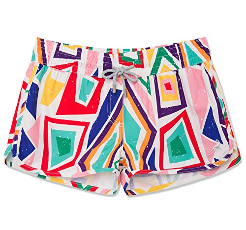 - SURF CUZ Women's Prisma Board Short - Quick Dry Fabric Women Swim Shorts for Beach or Swim (6, Pink - Plaid)