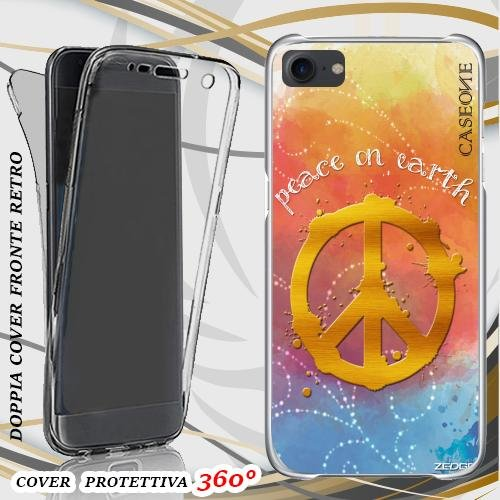 CUSTODIA COVER CASE PEACE ON HEART PER IPHONE 7 FRONT BACK