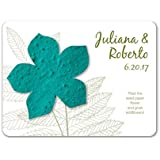 Bloomin Plantable Wildflower Wedding Favor with Seed Paper - Teal (25 Card Set)