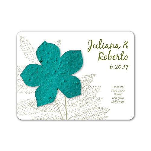 (Bloomin Plantable Wildflower Wedding Favor with Seed Paper - Teal (25 Card Set))