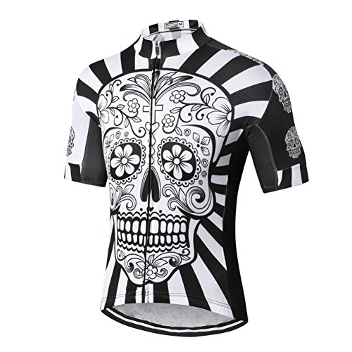 White Short Sleeve Cycling Jersey (Weimostar Men's Cycling Jersey Men 2018 Mountain Bike Jerseys Short Sleeve Tops Lycra Cuff (White Skull Flower XXL))