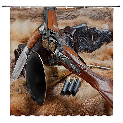 SATVSHOP European-Style-Bathroom-Decoration-Durable-Waterproof-Fabric-Hunting-Hunting-Materials-on-Fur-ifle-Ammunition-Cartridge-Knife-Sheath-Brown-Light-Brown-Black.W66-x-L72-inch