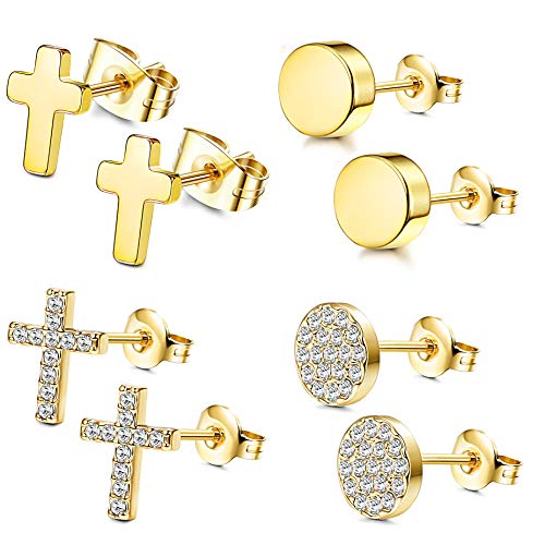 FIBO STEEL 4 Pairs CZ Stud Earrings for Women Girls Dainty Cross tragus Cartilage Daith Earrings Gold
