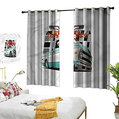 Marshome Sliding Curtains Lowrider Pickup Vehicle Home Garden Bedroom Outdoor Indoor Wall Decorations 55
