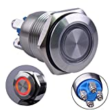"""Ulincos Momentary Push Button Switch U16B1 1NO Silver Stainless Steel Shell with Red LED Ring Suitable for 16mm 5/8"""" Mounting Hole (Red)"""