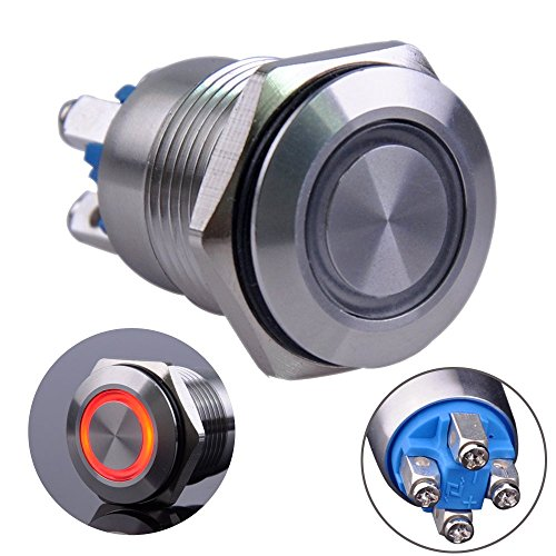 Ulincos Momentary Push Button Switch U16B1 1NO Silver Stainless Steel Shell with Red LED Ring Suitable for 16mm 5/8