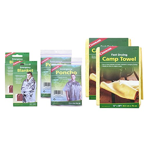 (Coghlan's Bundle: Emergency Blanket (2 Pack), Emergency Poncho (2 Pack) and Camp Towel (2 Pack). For Camping, Hiking and Emergency Survival.)