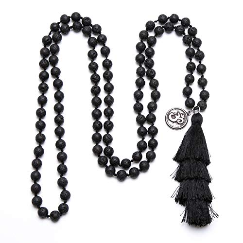Bivei 108 Mala Prayer Beads Bracelet Hand Knotted Gemstone Beaded OM Symbol Charm Long Tassel Necklace Yoga Meditation Jewelry(Lava Stone)