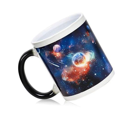 IGZOM Taza Sensibles Calor,Galaxia Cósmica Tema,Cambia Color Temperatura,Hombres y Mujeres De Ceramica Magica Café Taza,Divertida ...