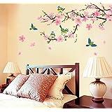 Fiori di pesco rosa parete in pvc adesivo rimovibile in salone camera da letto Cucina Art Picture Murals Sticks finestra porta decorazione + 3d rana regalo adesivo per auto