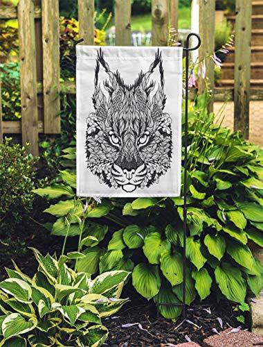 Semtomn Outdoor Decorative Garden Flag Animal Lynx Bobcat Head Tattoo Psychedelic Zentangle Sketch Lion House Yard Flag 28