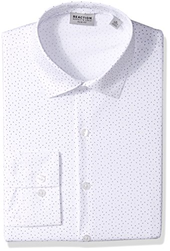 Kenneth Cole REACTION Men's Dress Shirts Slim Fit Stretch Dot Print, Drizzle, 16