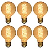 T.Y.S Lighting Home Decor G80 Edison Light Bulb Antique Design E26 ,40W ,Spiral (Pack of 6)