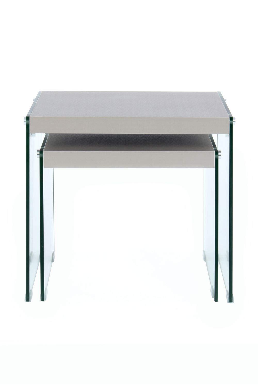 One Couture Tavolino Tavolino da Salotto Com/ò Vetro Legno Argento 2Er Set