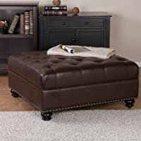 Faux Leather Bench Storage Ottoman, Brown Finish, Backless, Square Shape, Button Tufted Top, Suitable for Hallway, Bedroom, Living Room, Indoor Home Furniture, BONUS E-book