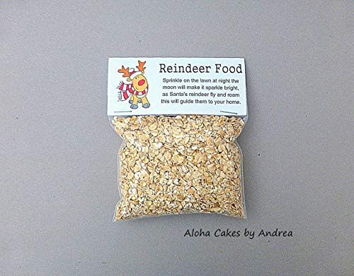 Reindeer Food Bag Topper Christmas Holiday Classroom Treat Bag Party Favor Reindeer Gifts Santa Kids Gift Christmas Eve Oatmeal not included Set of 10 ()
