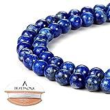 BEADNOVA 6mm Blue Lapis Lazuli Gemstone Round Loose Beads for Jewelry Making (63-65pcs)