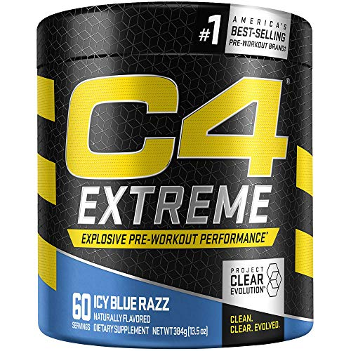 C4 Extreme Pre Workout Powder Icy Blue Razz | Preworkout Energy Supplement for Men & Women | 200mg Caffeine + Beta Alanine + Creatine | 60 Servings