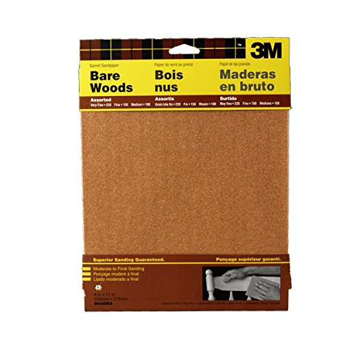 (3M Garnet Sandpaper, 9-Inch by 11-Inch, Assorted-Grit, 5-Sheet, 2-Pack )