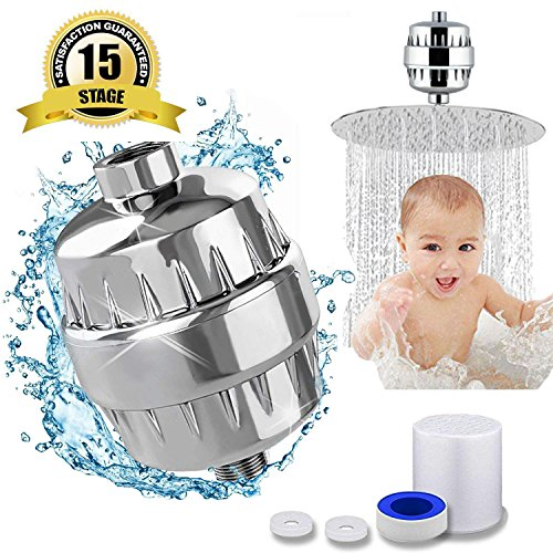 15 Stage Shower Filter for Hard Water Filter Vitamin C - Removes Chlorine, Impurities & Unpleasant Odors - Shower Filters - For Any Showerhead and Handheld Shower by Filteer
