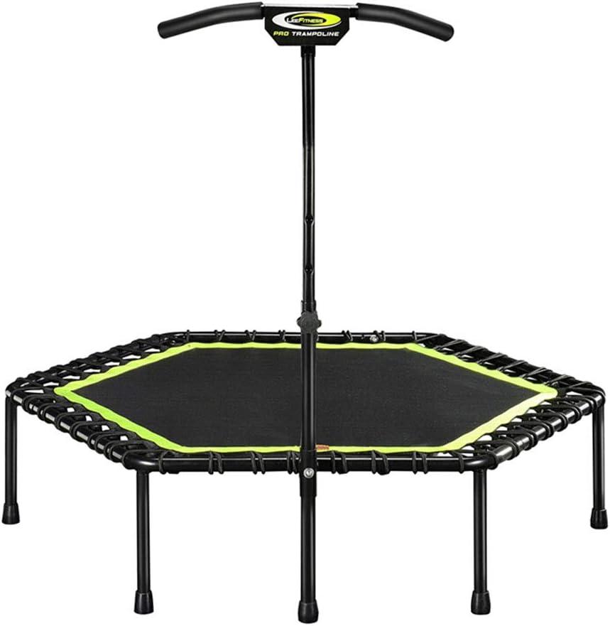 スポーツフィットネストランポリン、六角形、高さ調節可能なアームレスト超静音トランポリン(蛍光グリーン)
