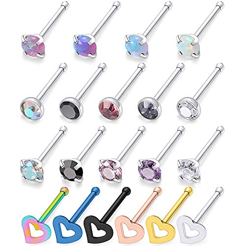 Ocptiy 20 Pcs 18G 20G Opal Nose Rings Studs Surgical Steel Nose Nostril CZ Inlaid 2MM Piercing Jewelry for Women Men Girl Silvertone