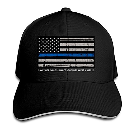 BOoottty Thin Blue Line Flag American Flag Flex Baseball Cap Black