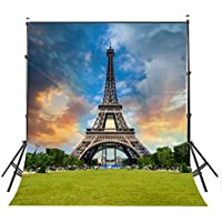 Lyly County Photo Backdrop 5×7ft Eiffel Tower Surrounded By Clouds Video Studio Photography Background Props Room Mural BG476