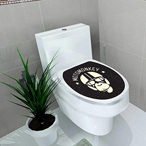 Auraise-home Decoration Bathroom Toilet Cover Sticker Sign Monkey Wearing a Helmet as a Pilot or Rider for Restroom Wall Decals W13 x L16