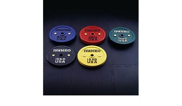 Ivanko - Juego de calibrado Colored Bumper platos - 50 kg par para barras olímpicas y levantamiento de potencia bares: Amazon.es: Deportes y aire libre