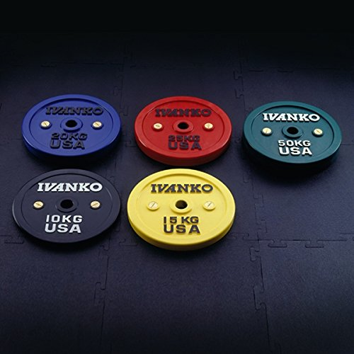 Ivanko Calibrated Colored Bumper Plates - 25 kg pair for Olympic Bars and Powerlifting Bars