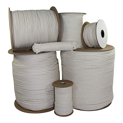 SGT KNOTS Awning Cord 3/16 Inch - Multipurpose Braided Cotton Sash Cord Line High Strength Rope - Cotton Cord for Commercial Use, Outdoor, Patio, Lawn, Garden, Pool & Furniture - 4 x 100ft Tube (Cotton Cord Braided)