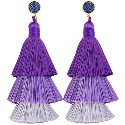Purple Titanium Earrings - SUNYIK Gradual Purple Color Tiered Thread Tassel Dangle Earrings for Women, Round Rainbow Druzy Stud Earring