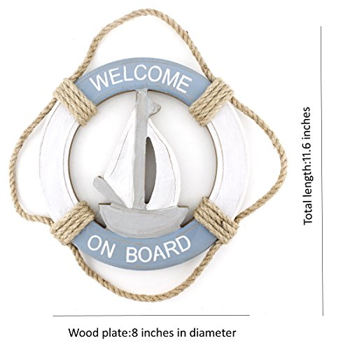 """Wooden Nautical Life Ring Wall and Door Hanging Ornament Plaque,Welcome On Board,11.6""""x8"""" Welcome Sign (Sail Boat)"""
