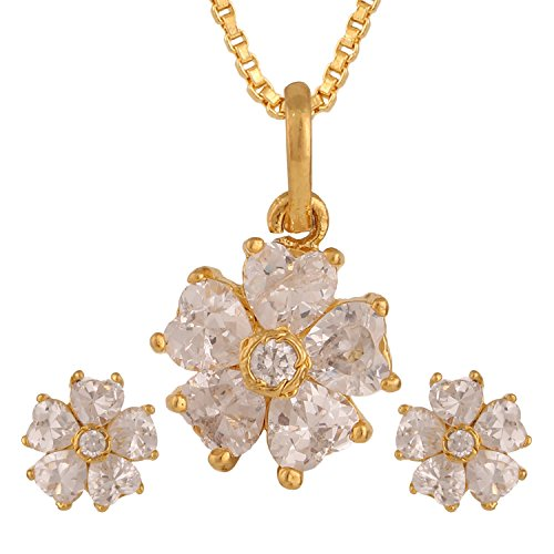 Efulgenz 14K Gold Plated White Floral Cubic Zirconia Pendant Necklace and Earrings Jewelry Set for Women Girls Brides ()