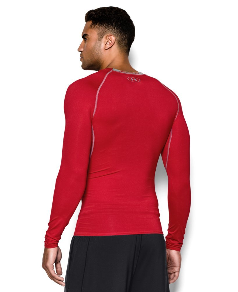Under Armour Men's HeatGear Long Sleeve Compression Shirt, Red (600)/Steel Small by Under Armour (Image #2)