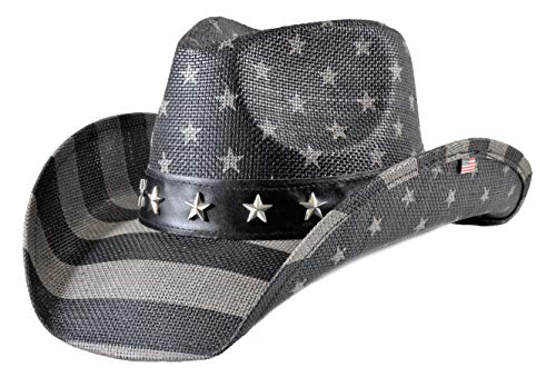 Saddleback Hats Bundle Authentic Vintage USA American Flag Cowboy Hat w/Shapeable Brim and Embroidered Iron On Flag Patch (Subdued Flag) ()