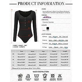 - 51cBwHBEOjL - Amilia Women's Basic Long Sleeve Bodysuit Snap Button Leotard Tops Bodycon Jumpsuit