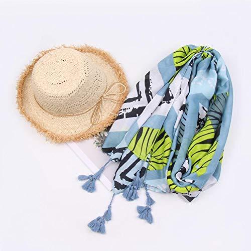 Boomdan Women Sleeve Stripe Print Scarf Shawls Wraps Lightweight Floral Pattern Satin for Headscarf&Neck (Blue) by Boomdan (Image #5)