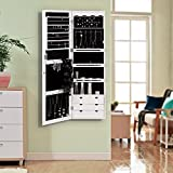 SONGMICS LED Jewelry Cabinet Armoire 6 Drawers Lockable Wall Door Mounted Jewelry Organizer with Mirror White UJJC88W