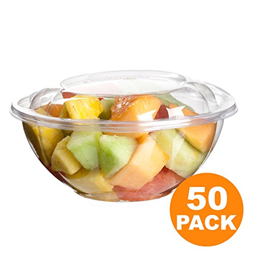 Dome Lid Containers (Clear Plastic Bowl With Dome Lids for Salads Fruits Parfaits, 24oz, Disposable, Small Size [50 Pack])