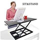 Best Buy Box Height Adjustable Sit-Stand - 32'' X 22'' Desk Workstation Dual Gas Spring Converter Fits Computer Top Riser Monitor