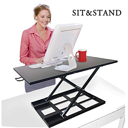Best Buy Box Height Adjustable Sit-Stand - 32'' X 22'' Desk Workstation Dual Gas Spring Converter Fits Computer Top Riser Monitor by Best Buy Box