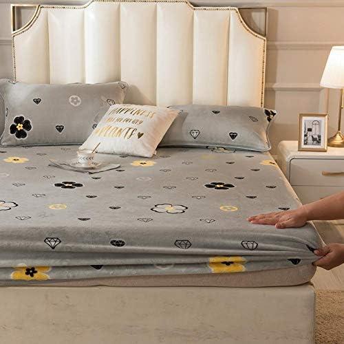 WERTY Drap Maison Lit d'hiver Chaud avec des Bandes élastiques Doux Couvre-Matelas Couvre-lit de Velours Double Queen Sabanas 180x200 (Color : 17, Size : 200x220cm Bed Sheet)