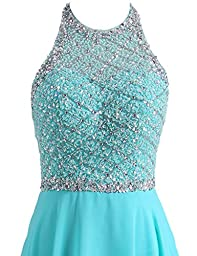 SeasonMall Women\'s Prom Dresses A Line Halter Open Back Chiffon & Tulle Dresses Size 8 US Ice Blue