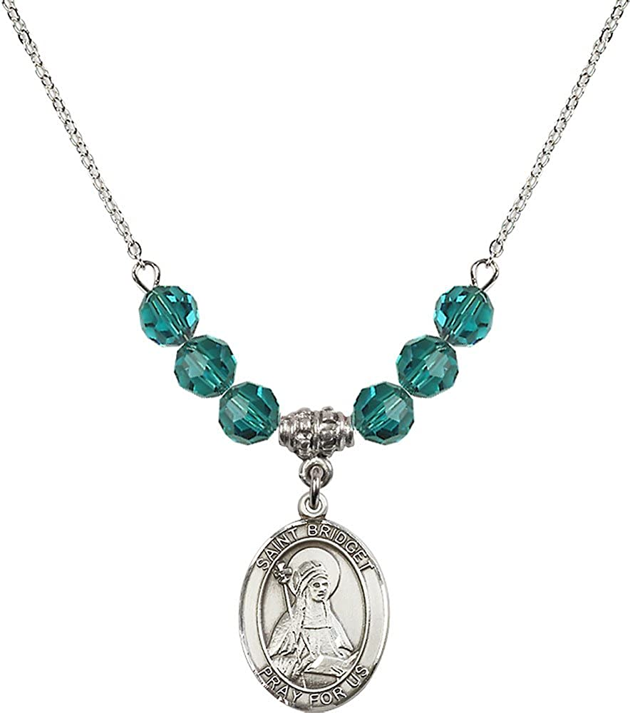 18-Inch Rhodium Plated Necklace with 6mm Zircon Birthstone Beads and Sterling Silver Saint Bridget of Sweden Charm.