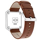Henoda 23mm Genuine Leather Bands Bracelet Strap for Fitbit Blaze Smart Fitness Watch (Brown (Genuine Leather), S/P Size)