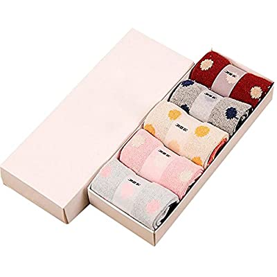 Weimay 5 Pairs Womens Winter Thick Knit Warm Soft Comfort Cozy Crew Cotton Socks Cute Style